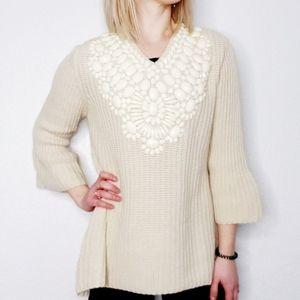 John Mark Ivory Knit Jewel Embellished Sweater